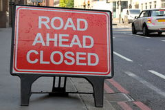 Road Ahead Closed. Sign on a street in London, United Kingdom royalty free stock images