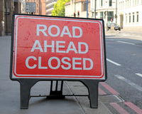Road Ahead Closed. Sign on a street in London, United Kingdom stock photos