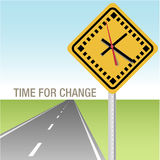 Road Ahead Time for Change Sign. Traffic sign clock and future road time for change ahead Royalty Free Stock Photos