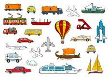 Road, air, railroad, water transportation symbols Stock Photo
