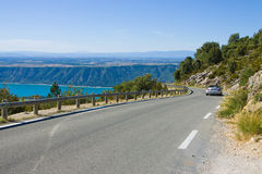 Road alone Verdon gorges Royalty Free Stock Photos