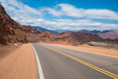 Road along Andean valleys Royalty Free Stock Image