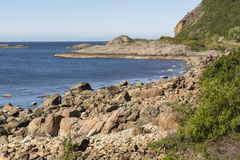 On the road along the coast of Niksund in Norway Stock Photography