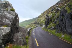 The road along the coast to Dunquin on Dingle peninsula. In Ireland Stock Image