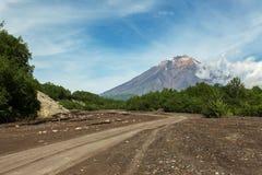 Road along dry river to the Volcano Koryaksky 3456 m on Kamchatka Peninsula Stock Photos