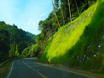 The road along the hill, which is the way down the hill. One sid royalty free stock images