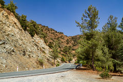 The road along the hills in Cyprus Royalty Free Stock Image