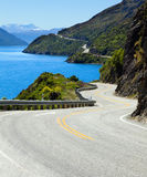 Road along the lake. View of lake Wakatipu along the highway towards Queenstown, New Zealand Royalty Free Stock Image