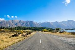 The road along the Lake Ohau,New Zealand Stock Images