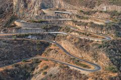 Road along Leba Sierra. View from above. Lubango. Angola. In Africa royalty free stock images