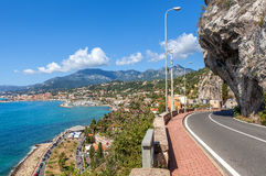 Road along Mediterranean coast in Italy. Royalty Free Stock Photography
