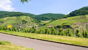 road along Mosel river in Cochem - Zell region Royalty Free Stock Photo