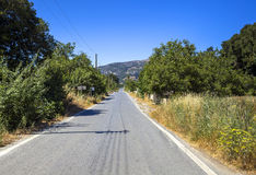 The road along the mountains in Crete Stock Image