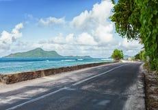 The road along the ocean, Mahe, Seychelles.  stock image