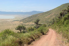Road along the rim of Ngorongoro Royalty Free Stock Images