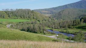 The road along the river located between the green hills. In the Altai Mountains stock footage