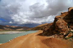 Road along the river in Tibet Royalty Free Stock Photography