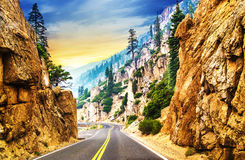 Road along scenic mountainous route Stock Image