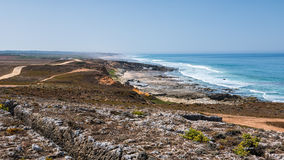 Road along the sea. A road leading along the sea in Portugal with the ocean and an island in the background Royalty Free Stock Photos