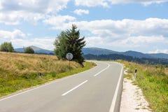 The road along the shore of Lake Vlasina in Serbia Royalty Free Stock Photo