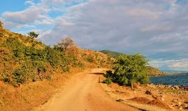 A road along the shores of Lake Niassa Stock Photo