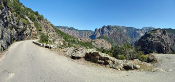 Road along Spelunca Canyon in Corsica Island Stock Photography
