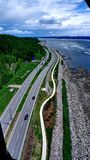 Road along the St. Lawrence River in Quebec City royalty free stock image