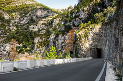 Road along a Ulldecona reservoir Royalty Free Stock Images