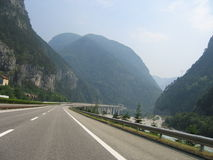 Road in Alps. Highway in Alps Stock Photo