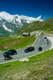 Road in Alps. Road between mountains in Alps, Austria Royalty Free Stock Photography