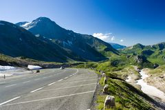 Road in Alps. Road between mountains in Alps, Austria Stock Images