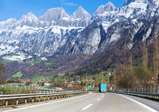 Road in Alps, Switzerland Stock Photos