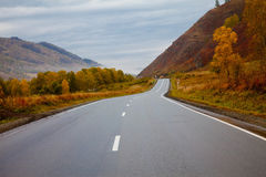 Road among the Altai Mountains. autumn Stock Photo