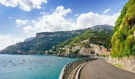 Road on Amalfi coast with beautiful view on Minori village, Campania, Italy. Beautiful view on amalfi coast in south italy royalty free stock image