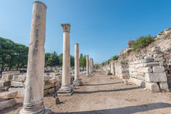 Road with ancient colums in Ephesus Royalty Free Stock Image