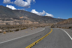 Road in the Andes mountains Royalty Free Stock Image