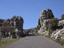 The road from Antequera into El Torcal Natural Park Royalty Free Stock Photos