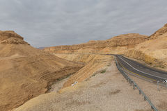 Road in the Arava desert Stock Images
