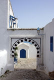 Road with arc. View of tipical arc in Sid bou said tunisia royalty free stock images