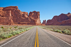 Road through Arch National Park Stock Photo