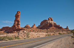 Road through Arch National Park Royalty Free Stock Images