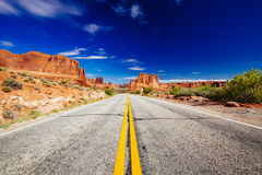 Road through Arches National Park, Utah, USA Royalty Free Stock Photography