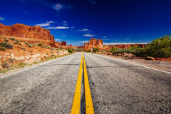 Road through Arches National Park, Utah, USA Royalty Free Stock Photo