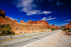 Road through Arches National Park, Utah, USA Royalty Free Stock Images
