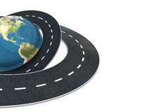 Road arond earth background. 3d illustration of background with earth globe and roads at left side Stock Images