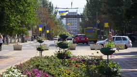 The road around the city square. On the road going car. Drives a car OSCE stock footage