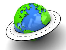 Road around earth. Abstract 3d ilustration of road around earth globe Stock Photography