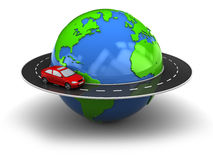 Road around earth. 3d illustration of road around earth globe Royalty Free Stock Image