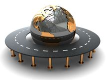 Road around earth. Abstract 3d illustration of road around world, white background Stock Images