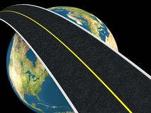 Road around earth. Abstract 3d illustration of road around earth globe Royalty Free Stock Photography